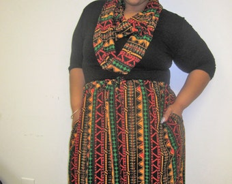 African Print Skirt and Scarf Set, Scarf and Skirt, Drawstring Skirt, Scarf