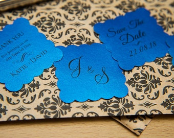 """50 Regal Blue Pearlised 1.5 inch Square Shiny Stickers, Envelope Seals. Custom Blue Stickers. 1.5"""" Save the date stickers. Invitation Seals."""