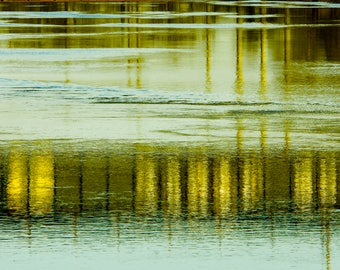 Fine Art Photography, Abstract Art, Abstract Print, Wall Art, Home Decor, 8 x 12 Print, Aqua, Gold, Green, Mississippi River Reflection