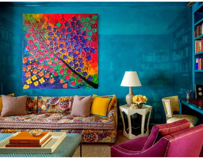 Metallic Rainbow Multi Color Impasto Acrylic Palette Knife Painting