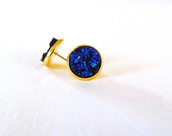 Faux druzy earrings-galaxy blue (druzy earrings, druzy studs, blue druzy)