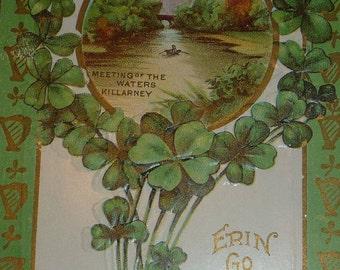 Erin Go Bragh, Shamrocks, Harp Border St Patrick's Day Antique Postcard
