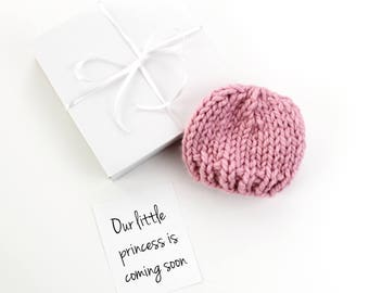 Baby Girl Announcement Pregnancy Grandparent, Baby Hat, Princess Girl, Choose Your Color