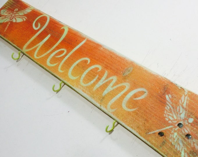 Custom wood signs wooden sign sayings rustic welcome reclaimed pallet wood art colorful wall hanging coat rack with hooks decor dragonflies