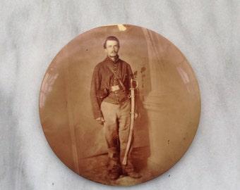"""6"""" Large Celluloid Topped Tin Button Photo Portrait Civil War Union Soldier ca. 1890s Columbia Portrait Co., Chicago"""