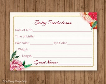 Floral Baby Predictions Card,Roses Baby Shower Games, Floral baby shower predictions, instant download, Rustic - PRINTABLE - BSG003