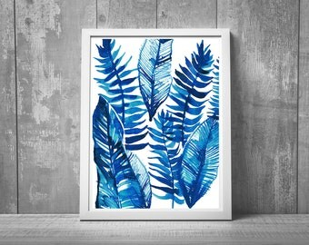 botanical painting, fern print, watercolor print, watercolor art, large wall art, living room decor,  8x10, 11x14, 16x20, gift idea