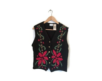 SALE Vintage HOLIDAY vest floral red green gold Ugly Christmas Embroidered Vest Poinsettia knit vest 1980s festive vest womens Large