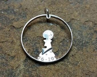 Chess Pawn pendant,  chess hand cut coin pendant