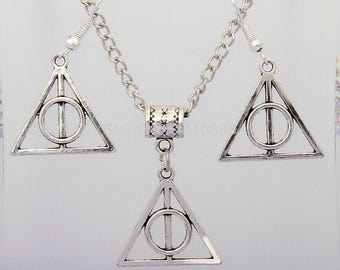 Harry Potter Jewelry Set - Deathly Hallows Necklace & Earrings // Harry Potter Symbol // Harry Potter Gift for Her // Jewelry Set // Charm