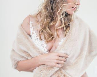 Wedding Fur Stole, Bridal Fur Stole, Wedding Dress Cover Up, Bridal Cover Up, Faux Fur Stole, Wedding Shawl, Fur Shawl -Style 503- Ballencia