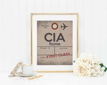 Rome Airport Sign - Travel Decor - Aviation Art Print - Baggage Tag - Airplane Sign - Airline Ticket - Airport Code - CIA - Rome Italy