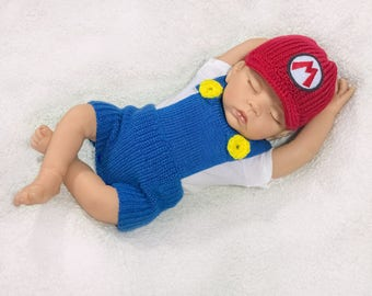 Mario baby photo prop crochet diaper cover set baby crochet outfit mario baby costume boy baby mario costume hat mario photo prop Halloween