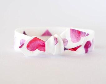 Pink Hearts Top Knot, Valentines Day Headband, Baby Headband, Newborn Headband, Watercolor Organic Headband, Knotted Headband, Infant Bows