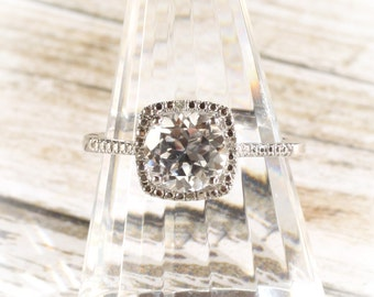 Sterling Silver White Sapphire & Diamond Halo Birthstone or Engagement Ring, Custom Sizes Available