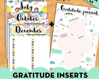 """Gratitude inserts 12 months """"today i""""m thankful for"""" + monthly gratitude journal - PRINTABLE planner inserts - A5, A4 inserts"""