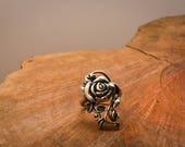 Vintage 925 Sterling Silver Rose Ring Elegant Pretty Feminine Statement Minimalism Minimalist Leaves Vines Leaf Nature Plant Gift for Her