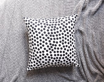 Black & White Polka Dot Cushion Cover, Throw Pillow Cover, Throw Cushion Cover, Decorative Cushion Cover, Decorative Pillow Cover