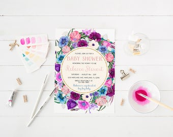 Purple Violet Pink Baby Shower Invitation Floral Birthday Party Invitation Rustic Floral Invitation Printable Floral Baby Shower Invitation