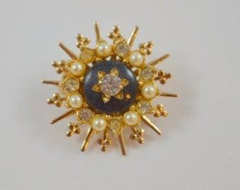 Vintage Emmons Emj Pin Brooch Round Spoke Design Faux Pearls Rhinestone Circle Design Emmons Jewelry Emj Pin