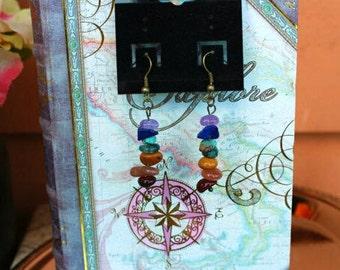Chakra Earrings, Gemstone Earrings, Dangly Beaded Earrings, Chakra Jewelry, Rainbow Gemstone Earrings - 00214