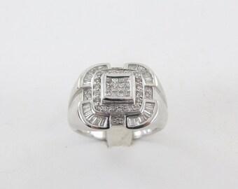 14K White Gold Men's Diamond Ring, 14k White Gold Men's Ring, Diamond Men's Ring