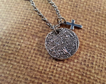 INK-1 MEDIUM FINGERPRINT round Necklace in solid Fine .999 Silver w/small cross charm-includes chain