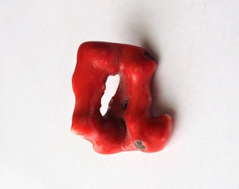 Red Coral Focal, Red Coral Pendant, Red Branch Coral, Branch Coral Pendant, Branch Coral Focal, Freeform Coral Focal, 30mm