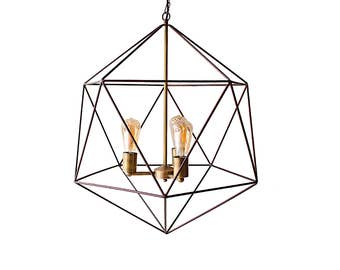 Polyhedron Modern Cage Geometric Chandelier Ceiling Light Mid Century Pendant Lighting Industrial Home Decor Bronze Rustic