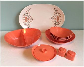 Vintage Brookpark Unbreakable Orange Melmac Dishes, Mid Century 10 Piece Set  Of Brookpark Dishes.
