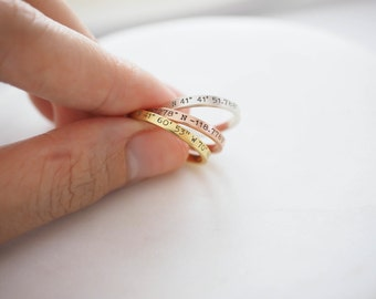 40% OFF* Dainty Coordinates Ring • Stackable Band • Latitude Longitude Ring • Personalized Custom Location Jewelry • Location Ring • RM22F31