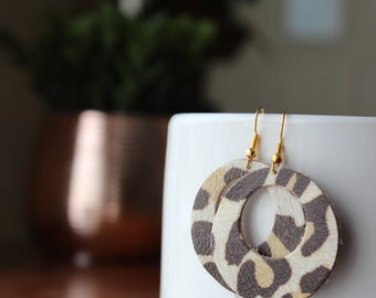 Round Leather Earrings, Handmade Leather Earrings, Sterling Silver Hooks, Gold plated Hooks