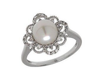 48 HR SALE! Pearl Ring, Cocktail Ring, Diamond Ring, Anniversary Ring, Engagement Ring, Promise Ring, Fashion Ring, Bridal Ring, Silver Ring