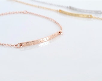 Personalized Bracelet, Rose Gold Bracelet, Dainty Bracelet, Gift For Women, Gold Bracelet, Bridesmaid Gift, Friendship Bracelet, Custom Bar