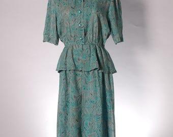 Vintage teal / turquoise green paisley print midi secretary dress