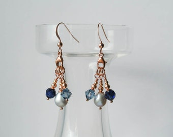 Rose Gold & Blue Earrings - 14K Rose Gold Filled Earrings with Grey Freshwater Pearls and Blue Swarovski Crystal Drops