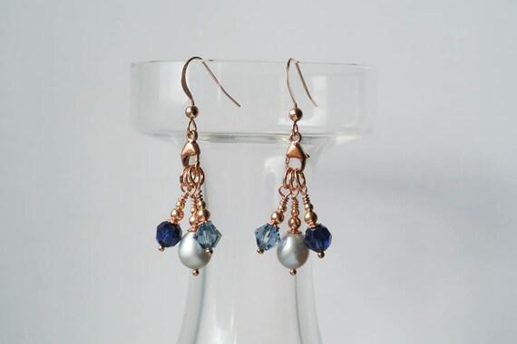 Rose Gold Chandelier Pearl Drop Earrings 14K Rose Gold