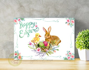 Happy easter card Easter card Easter bunny printable card Floral Easter print Easter bunny Printable Easter Easter gift print Happy Easter