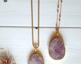 Amethyst Necklace for Women / Raw Amethyst Necklace / Layering Necklace Amethyst / Layering Bohemian Necklace / Dainty Amethyst Necklace.