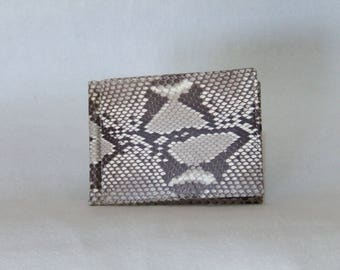 Sfiladollari, money clip, clip wallet for man in Python. Color rock. With pockets for credit card. Artisan portfolio