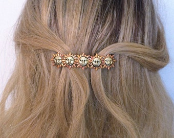 French Barrette with bronzed Suns, Sunshine hair barrette, Women hair barrette, Medium barrette