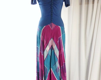 1940s rayon dress/ 40s teal blue rayon and plaid taffta evening gown xxs xs