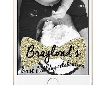 Snapchat Geofilter, First Birthday Snapchat Geofilter, Bowtie Geofilter, Personalized Snapchat Geofilter