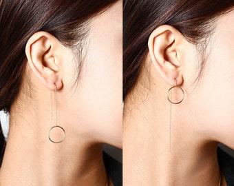 Gold Chain Threader Earrings Earrings, Silver Circle Drop Earrings, Rose GoldDelicate Open Circle Dangle Earrings, Minimalist Bridemaid Gift
