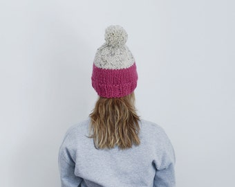 Knitted Hat - Pink and cream