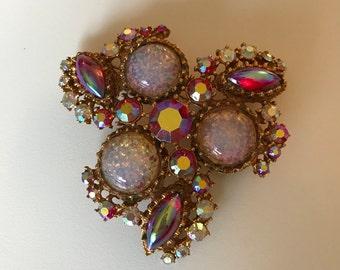 4 Stone Pink Brooch