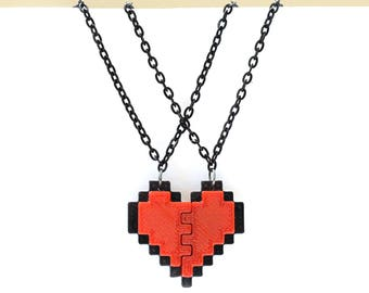 Undertale Frisk Cosplay 8 Bit Pixel Heart Necklace for Friendship, Couples, or Gamers Zelda Heart Emoji Birthday Partial Border