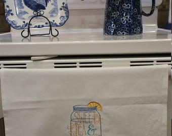 Sweet Tea and Sunshine Embroidered Kitchen Towel