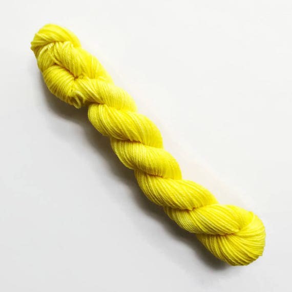 sun / hand dyed yarn / mini skein / sock fingering yarn / merino wool superwash / needlepoint embroidery / semi-solid bright yellow yarn