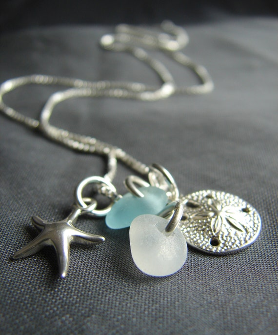 Ocean sea glass necklace in aqua and white